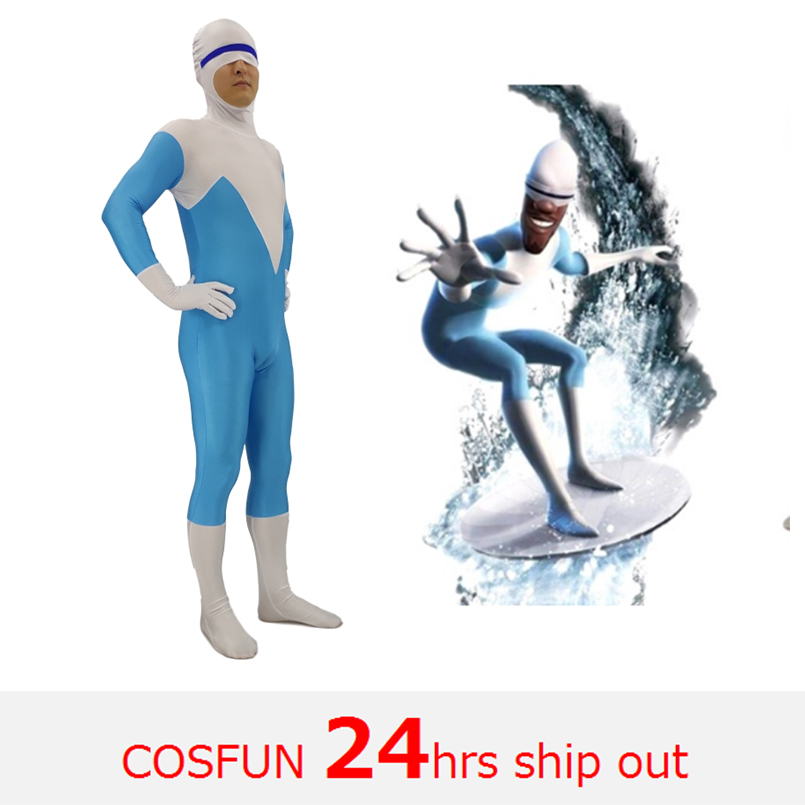 Incredibles 2 Frozone Superhero Kostüm cosplay Halloween Party Film Cosplay Çocuklar Yetişkin Kostümleri Catsuit Erkek Zentai Suit