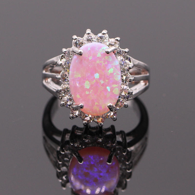 Beautiful Style Oval Flower Bule Pink Fire Opal&AAA Zirconia White Gold Color Ring