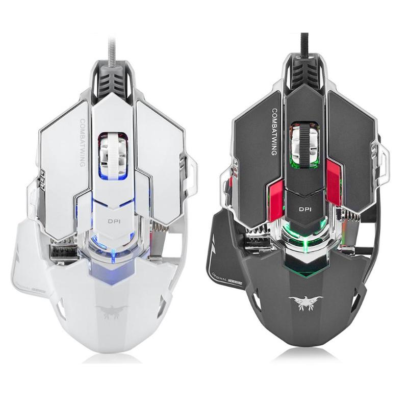 USB Kablolu Optik Gaming Mouse 5500 DPI Programlanabilir 10 Düğmeleri RGB LED Fareler